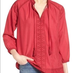 Madewell Camellia Embroidered Red Tassel Top